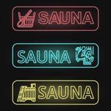 Ensemble de bannières au néon de sauna Images stock