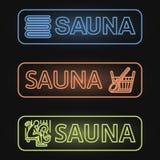 Ensemble de bannières au néon de sauna Photographie stock libre de droits