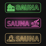 Ensemble de bannières au néon de sauna Photo libre de droits