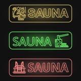 Ensemble de bannières au néon de sauna Images libres de droits