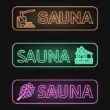 Ensemble de bannières au néon de sauna Photos libres de droits