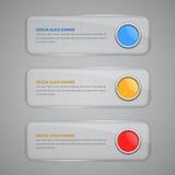 Ensemble de bannières avec le bouton en verre illustration libre de droits