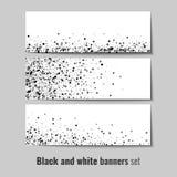 Ensemble de bannières avec le fond noir et blanc de cercle Photographie stock libre de droits