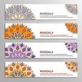 Ensemble de bannières avec le mandala Photographie stock libre de droits