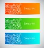 Ensemble de bannières colorées avec les cercles décoratifs. Photographie stock libre de droits