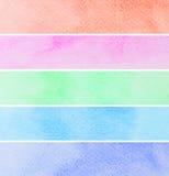 Ensemble de bannières colorées d'aquarelle Images libres de droits