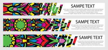 Ensemble de bannières de couleur avec le texte et le mandala Photos libres de droits