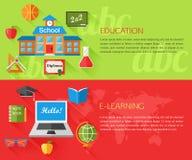 Ensemble de bannières d'éducation et de concept d'apprentissage en ligne Image libre de droits