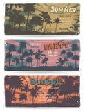 Ensemble de bannières d'été de vintage avec des palmiers Photographie stock libre de droits