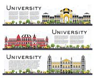 Ensemble de bannières d'étude de campus universitaire d'isolement sur le blanc Photo libre de droits