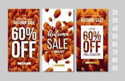 Ensemble de bannières d'Autumn Sale avec le lettrage illustration stock