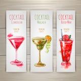 Ensemble de bannières de cocktail d'aquarelle Images stock
