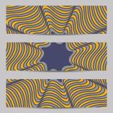 Ensemble de bannières de conception moderne, calibre d'en-têtes avec 3d le volume abstrait barré, fond diagonal onduleux de modèl illustration libre de droits