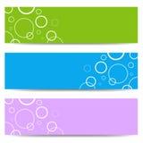 Ensemble de bannières de couleur avec les cercles blancs Image stock