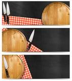 Ensemble de bannières de cuisine avec le tableau noir illustration stock