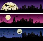 Ensemble de bannières de nuit de Halloween Photographie stock libre de droits