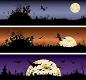 Ensemble de bannières de nuit de Halloween Photo stock