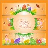 Ensemble de 3 bannières heureuses de Pâques Photos stock