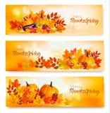 Ensemble de bannières heureuses de thanksgiving avec des légumes d'automne Photos libres de droits
