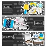Ensemble de bannières horizontales au sujet de temps de sommeil Photographie stock libre de droits