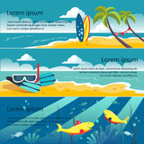 Ensemble de bannières horizontales avec le bord de la mer Photo stock