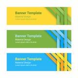 Ensemble de bannières horizontales colorées modernes de vecteur dans un style matériel de conception Images libres de droits