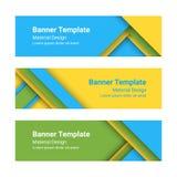 Ensemble de bannières horizontales colorées modernes de vecteur dans un style matériel de conception Image stock