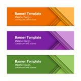 Ensemble de bannières horizontales colorées modernes de vecteur dans un style matériel de conception Photo libre de droits