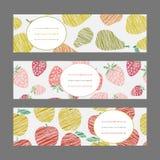 Ensemble de bannières horizontales de fruit Ornement de baie de récolte Ensemble de vecteur Image stock