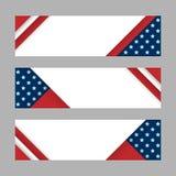 Ensemble de bannières horizontales de vecteur moderne, d'en-têtes avec des rayures et d'étoiles dans les couleurs du drapeau amér Photos stock