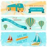 Ensemble de bannières horizontales de voyage dans le rétro style Images stock