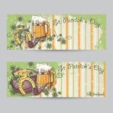 Ensemble de bannières horizontales pour le jour de St Patrick illustration stock