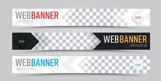 Ensemble de bannières horizontales de Web de vecteur avec l'endroit pour la photo Photos libres de droits