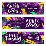 Ensemble de bannières de Mardi Gras Image stock
