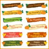 Ensemble de bannières mignonnes et colorées de thanksgiving Photos stock