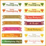 Ensemble de bannières mignonnes et colorées de thanksgiving Photos libres de droits