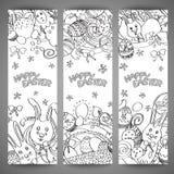 Ensemble de bannières multi créatives de vecteur de couleur pour Joyeuses Pâques illustration libre de droits
