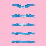 Ensemble de bannières onduleuses bleues sur le fond doux Photo libre de droits