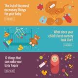 Ensemble de bannières plates de soin de bébé Photos stock