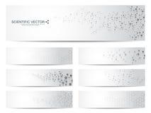Ensemble de bannières scientifiques modernes ADN de structure de molécule et neurones abrégez le fond Médecine, la science, techn Photo libre de droits