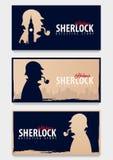 Ensemble de bannières de Sherlock Holmes Illustration révélatrice Illustration avec Sherlock Holmes Rue 221B de Baker Londres GRA Images libres de droits
