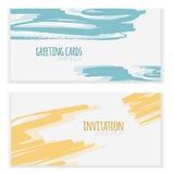 Ensemble de 2 bannières tirées par la main abstraites de croquis, fond pour des invitations et cartes de voeux Image stock
