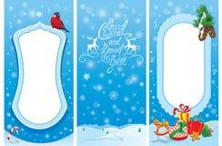 Ensemble de bannières verticales - cartes de Noël et de nouvelle année avec le taureau Photos libres de droits