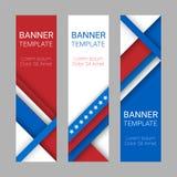Ensemble de bannières verticales de vecteur moderne, en-têtes en couleurs du drapeau américain Image stock