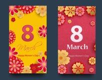 Ensemble de bannières verticales pour le jour international du ` s de femmes Insectes 8 mars avec le décor des fleurs Invitations illustration stock