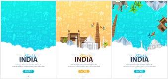 Ensemble de bannières de voyage d'Inde Griffonnages tirés par la main indiens sur le fond Illustration de vecteur illustration libre de droits