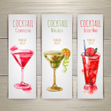 Ensemble de bannières de cocktail d'aquarelle Images stock