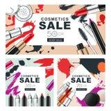 Ensemble de bannières de vente avec des cosmétiques de maquillage et les taches d'aquarelle Image stock