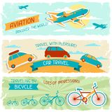 Ensemble de bannières horizontales de voyage dans le rétro style Photo stock
