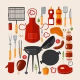 Ensemble de barbecue de gril d'éléments illustration de vecteur